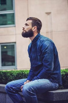 full thick dark beard and mustache beards bearded man men mens' style street denim #keepitgrowing
