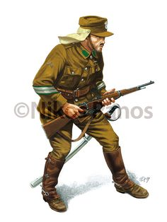 Khaki service/campaign uniforms adopted by the Hellenic (Greek) Army after worn trough the duration of and after at the Ukrainian and Asia Minor Campaigns.Art by Nikos Panos American Revolutionary War, American Civil War, Military Men, Military History, Ww2 Uniforms, Military Uniforms, Hellenic Army, Army Uniform, World War One