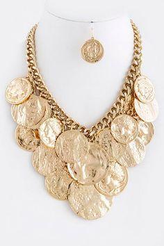 KENSINGTON NECKLACE- Multi repousse face charm necklace set