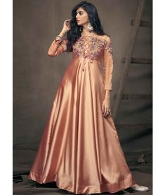 6bf582a949 Designer Triva Satin Embroidered Gown In Peach