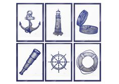 Blue and White Wall Art Coastal Wall Decor Bathroom Art Set 6 Print Nautical Ship Wheel Watercolour Prints Beach Art Print Nursery Print Set by ArtistiCorner on Etsy