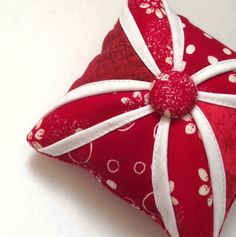 Mini Cushion Cathedral Window. Pin cushion. Red and by SewGifted, £5.00