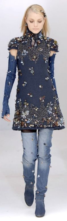 Blinged out denim dress with rhinestones, studs, beads. Chanel denim