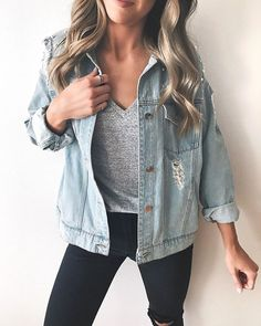 Found the perfect dupe to that pearl embellished Free People jacket!  This one is only $32 and so fun!  Its oversized by design but Im wearing a medium (small wasnt available when I got it). Id go with your true size unless you want it a little extra room! Also  favorite black distressed denim is 40% off this weekend!  | Shop my posts at thestyledpress.com/shop or with the @liketoknow.it app! http://liketk.it/2uGro #liketkit
