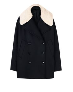 Updated chic peacoat with a modern slightly boxy fit. Made in a smooth wool fabric in timeless navy black with a detachable teddy collar in contrasting off white. Wear with denim for a casual take or with a flared skirt to create a contemporary feminine s