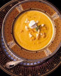 Made this last night - very yummy! Left out the heavy cream and used olive oil instead of butter and it still came out smooth and creamy.     Curried Butternut Squash and Cauliflower Soup Recipe from Food & Wine