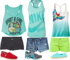 turquoise tanks, created by lackey-lack on Polyvore