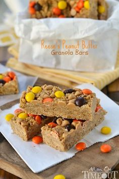 Easy no-bake Reese's Peanut Butter Granola Bars are hard to resist for kids and adults alike! | MomOnTimeout.com | #recipe #snacks #Reeses