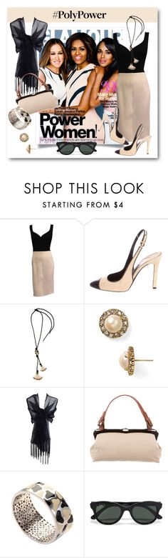 """""""Black & Cream Power Chic"""" by metter1 ❤ liked on Polyvore featuring Sarah Jessica Parker, Lanvin, Tom Ford, Kate Spade, Marni, Roberto Coin, Ray-Ban and PolyPower"""