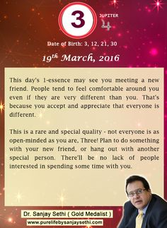 #Numerology‬ predictions for 19th March'16 by Dr.Sanjay Sethi-Gold Medalist and World's No.1 #AstroNumerologist.