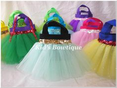 Tutu Favor Bags - canvas bags covered with tulle tutus and sequin trim.  Very cute:)