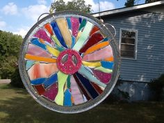 Stained Glass Peace Sign Window Art Sun Catcher , Pink Peace Sign, Unique Gift Idea, Secret Sister Gift, Home decor, Handmade, Hippie Gift by MountainMosaicsmore on Etsy