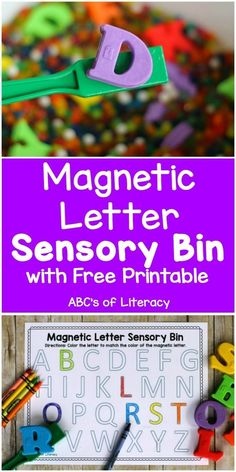 Sensory Bin For Learning The Alphabet This Magnetic Letter Sensory Bin is an fun, sensory activity that will help children practice letter recognition, visual discrimination, and develop fine motor skills. Alphabet Kindergarten, Kindergarten Sensory, Sensory Activities For Preschoolers, Abc Activities, Preschool Letters, Learning The Alphabet, Preschool Kindergarten, Preschool Learning, Letter Recognition Kindergarten