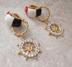 Nautical Clip Earrings Rhinestone Red White Blue by cutterstone