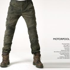 uglyBROS-USA MOTORPOOL motopants is cargo style motopants made of 12oz Denim with stained military green finish! Well designed side pockets ...
