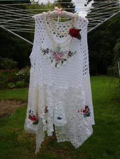 Snow White Vintage Cotton Lace Lagenlook Plus Size Embroidered Rose Layering Draped Tunic Crochet Doily Dress