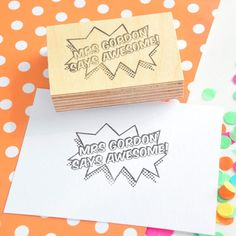 Pop Art Teacher Stamp - your name and message - Custom Reward Rubber Stamp - Personalised Grading Stamp by SeriousStamp Etsy Uk, Colored Paper, Teacher Gifts, Pop Art, Best Gifts, Give It To Me, Place Card Holders, Names, Messages