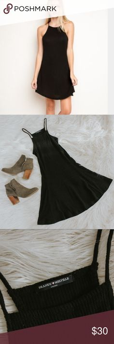 Brandy Melville Abigail Ribbed Dress Brandy Melville black ribbed high neck. One size fits all. Never worn, no flaws, perfect condition. Fits better on someone who is small. Brandy Melville Dresses