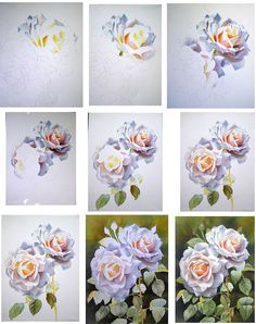How to paint beautiful roses with watercolour. Step sheet by Doris Joa