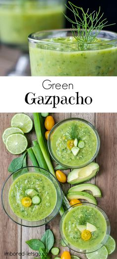 Fresh, healthy Green Gazpacho is gluten free and vegetarian. Made with cucumbers, avocado, tomatoes, basil, fennel and other good stuff!