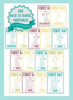 Free back to school printable signs -perfect for taking pictures of your kids on the first day of school!