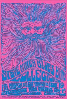 Steve Miller Band poster by Bob Masse Hippie Posters, Rock Posters, Band Posters, Movie Posters, Psychedelic Rock, Psychedelic Posters, Vintage Concert Posters, Vintage Posters, Steve Miller Band