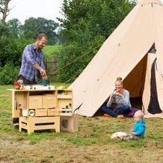 Inklapbare multiplex kampeerkeuken, zelfmaakplan uit Landleven 6, 2015.