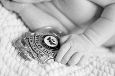 Police newborn photography, police badge newborn www.eburlesonphotography.com