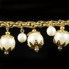 Napier Vtg Faux Pearl Gold tone Chunky Dangle by FancyNancyVintage, $22.00