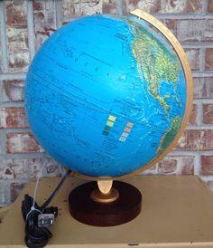 Vintage Illuminated Replogle World Horizon Series - 12 inch Globe / Wood Base on Etsy, $29.95
