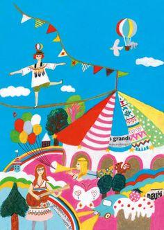 Pinzellades al món: Les il·lustracions de Keiko Shibata: color i alegria Circus Illustration, Japanese Illustration, Illustration Sketches, Illustrations And Posters, Kids Graphic Design, Graphic Design Inspiration, Summer Drawings, Circus Art, Naive Art