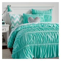 Pucker Up Comforter Sham ($20) ❤ liked on Polyvore featuring home, bed & bath, bedding, polyester bedding, ruched bedding and plush bedding