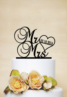 Mr & Mrs Cake Topper with DateWedding Cake by AcrylicDesignForYou