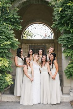 Neutral bridesmaid dresses: http://www.stylemepretty.com/new-york-weddings/rochester-ny/2016/05/20/jane-austens-garden-meets-jay-gatsbys-mansion-in-this-glamorous-wedding/   Photography: Alexandra Meseke - http://alexandrameseke.com/