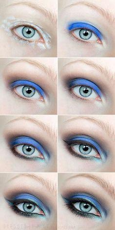 Dressed in mint: make up. - KOBALT / Step by step Makeup Geek, Diy Makeup, Makeup Addict, Beauty Makeup, Blue Makeup, Beauty Tutorials, Makeup Tutorials, Beautiful Eye Makeup, Tips Belleza