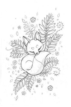 Photo) Sketches of a Fox Tattoo for Girls 2019 . - Photo) Sketches of a Fox Tattoo for Girls 2019 … – Photos) Fox Tattoo Sketches for Gir - Wolf Tattoos, Animal Tattoos, Tattoo Sketches, Drawing Sketches, Fox Drawing, Tattoo Drawings, Drawing Ideas, Floral Drawing, Sketch Ideas