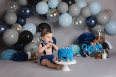 1st Birthday Cakes, First Birthday Decorations, 1st Birthday Photos, Baby Boy 1st Birthday, Blue Birthday, Baby First Halloween, Cake Smash Photos, 1st Birthdays, Newly Pregnant
