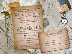 Wedding Invite and RSVP - Amabelle Vintage Steampunk Damask Personalized Card Suite on Etsy, $2.30
