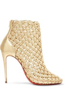 Heel measures approximately 100mm/ 4 inches Gold leather Zip fastening along back Made in Italy