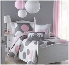 girls bedroom ideas in pink with tree stensils | Big Believers Pink Parade Comforter Set - lavish pink, white and grey ...