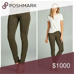 "Olive Skinny Pants Mid rise skinny pants in olive green. Very comfortable and stretchy with a jeggings fit. Zip and button front with functional back pockets and faux front pockets. Perfect fall color that can easily be dressed up or down!  68% Rayon, 27% Nylon, 5% Spandex  Sizes: S (2-4) waist 26"", hip 32"", rise 8"", inseam 29"" M (6-8) waist 28"", hip 34"", rise 8"", inseam 29.5"" L (10-12) waist 30"", hip 36"", rise 8"", inseam 30"" Pants Skinny"