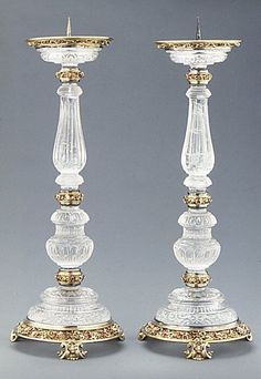 Pair of pricket candlesticks second half century- - - mounts Mounted after a design by Reinhold Vasters German Chandeliers, Antique Chandelier, Glass Chandelier, Candlestick Holders, Candlesticks, Antique Glass, Antique Silver, Cut Glass, Glass Art