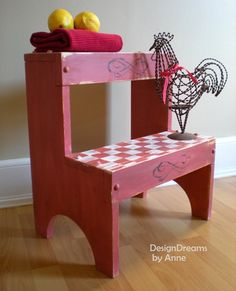 DIY: Country Red Step-stool (great tutorial before was plain thrift stool)