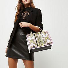 Pink scarf print cross body tote bag - shopper / tote bags - bags / purses - women