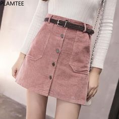 Cheap sleeve sweater, Buy Quality long sleeve sweater directly from China rib knit Suppliers: style ropa boho clothing dames kleding faldas mujer moda 2018 harajuku Women autumn winter slim fit short corto skirt Denim Skirt Outfits, Denim Outfit, Pink Denim Skirt, A Line Skirts, Short Skirts, High Skirts, Women's Skirts, Casual Skirts, Jeans Rosa