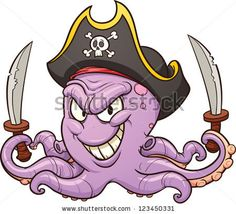 Cartoon pirate octopus. Vector clip art illustration with simple gradients. All in a single layer by Memo Angeles, via Shutterstock