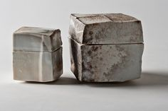 "emmaklee: "" Karin Michelsen / lidded ceramic boxes "" Olives et noyaux Ceramic Boxes, Ceramic Jars, Ceramic Tableware, Ceramic Pottery, Slab Ceramics, Porcelain Ceramics, Porcelain Tile, Porcelain Skin, Cold Porcelain"