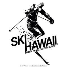 """Ski Hawaii"" vintage T-shirt re-creation #Hawaii #ski #MaunaKea #Tshirt #illustration"
