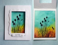 By Cindy Gilfillan (frenziedstamper at Splitcoaststampers). Sponge on watercolor paper, spritz with water, let dry, then stamp a silhouette.