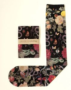 I made these for a friend who really likes snakes. I like them too.We specialty print each stocking in the USA. Because they are individually printed the exact elements featured change slightly with every sock.The stockings are● Soft and silky ● Opaque ● Knee-hi trouser stockings ● One size fits allTo give them the longest life, treat them with care! The colours may fade with age and wear.Please feel free to contact us with questions. (Yes, we s...